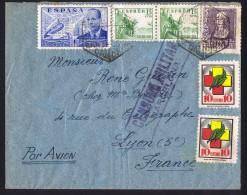 1939  Carta Por Avion Por La Francia   «Censura Militar / Barcelona» Viñettas - 1931-50 Cartas