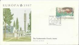 EEUROPA CEPT 1987– FINLAND  FDC – VOUCKSENNISKA CHURCH – IMATRA   W 1 ST OF 1,70 POSTM HELSINKI  MAY 15,1987 RE118 BACK - 1987