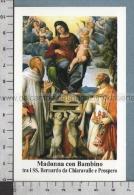 Xsb1196 MADONNA CON BAMBINO SS. BERNARDO DA CHIARAVALLE E PROSPERO Santino Holy Card - Religion & Esotericism