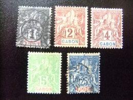 GABON   1904  COLONIE FRANÇAISE       5 SELLOS Yvert & Tellier Nº 16 º+ 17 *+ 18 *+ 19 *+ 23 º Alguno Aminci - Gabon (1886-1936)