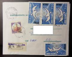 ERCHIE (BR) 1988 2 Dicembre Raccomandata Lavoro Italiano 750 Lire Uso Multiplo + 700 - 6. 1946-.. Repubblica