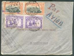 PA 1(2) + Tp N°173 (paire + Bloc De 4 Au Verso) Obl. Sc INKISI Sur Lettre Par Avion Du 24-8-1936 Vers Elisabethville.  T - Congo Belge