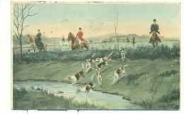 CHASSE à Courre/  BELLE CARTE COLORISEE A LA PEINTURE!! M.M.VIENNE, M.MUNK, Nr 397 ( - Jagd