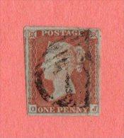 GBR SC #3 U (O,J) W/LT DIAG CRS ABOVE LL CNR + PAPER WRINKLES @ LR, CV $9.00 - Used Stamps