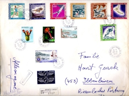 MONACO 1968 Y.T. 736-741  SUR ENVELOPPE RECOMMANDEE AVEC D´AUTRES TIMBRES - Monaco