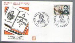 France FDC 1er Jour Marcel Proust écrivain A La Recherche Du Temps Perdu CAD Illiers 12-02-1966 / Tp 1472 - Historique - 1960-1969