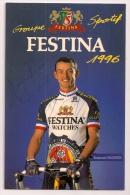 """Emmanuel MAGNIEN - Dédicacée - Groupe """" FESTINA """" - 1996 - 2 Scans - - Cycling"""