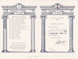 FRANC MACONNERIE FURNIVAL LODGE 1960 SHEFFIELD (ROYAUME UNI)  FEUILLET 4 PAGES - Historical Documents