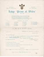 FRANC MACONNERIE LODGE PRINCE OF WALES  1954 - Historical Documents