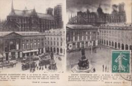 REIMS - Guerre Européenne 1914 - 2 Photos De La Place Royale Et La Cathédrale,avant Et Après Le Bombardement - - Reims