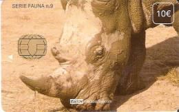 TARJETA DE ESPAÑA DE ISERN DE SERIE FAUNA Nº9  RINOCERONTE (RHINO) - Emissions Basiques