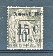 Nossi Be Tasse 1891 Y&T N. 9 C. 15 Su C. 10 Nero E Lilla (soprastampa III) Varietà: Percevoir Senza R Finale