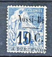 Nossi Be Tasse 1891 Y&T N. 12 C. 10 Su C. 15 Bleu (soprastampa IV) MH