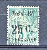 Nossi Be Tasse 1891 Y&T N. 14 C. 25 Su C. 5 Verde (soprastampa IV)