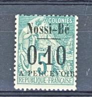 Nossi Be Tasse 1891 Y&T N. 15 C. 0.10 Su C. 5 Verde MH