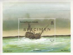 British Virgin Islands MNH Scott #576 Souvenir Sheet $2.50 Brig ´Volvart´ 1918 Specimen Overprint - Selvedge Crease - Iles Vièrges Britanniques