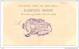 Cachet Au Dos De Carte Postale De L. Hinault, Représentant De Commerce à Loudeac - Visiting Cards