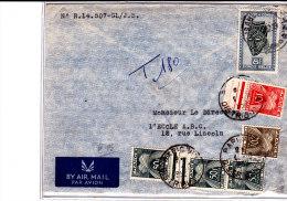 N°291B Elisabethville 1952 S/l.AVION V.Paris Taxée 180F. TB - 1947-60: Lettres