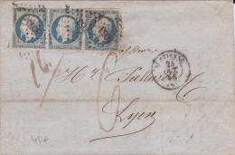 LOIRE - 1854 - EMPIRE 20c BANDE De 3 Sur LETTRE De ST ETIENNE - Marcophilie (Lettres)