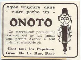 Porte-Plume Réservoir /ONOTO/Publicité/ 1913              ILL13 - Pens