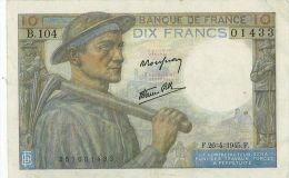 10 Francs Mineur, Ref Fayette  8-14, état TTB - 1871-1952 Anciens Francs Circulés Au XXème