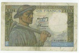 10 Francs Mineur, Ref Fayette  8-21, état TTB - 1871-1952 Anciens Francs Circulés Au XXème