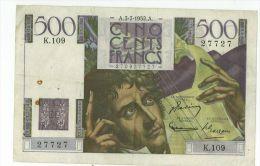 500 Francs Chateaubriand, Ref Fayette 34-9, état TTB - 1871-1952 Gedurende De XXste In Omloop