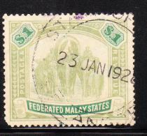 Federated Malay States 1904-10 Elephants $1 Used - Federated Malay States