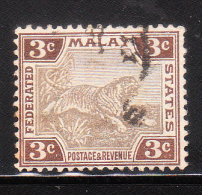 Federated Malay States 1904-10 Tiger 3c Used - Federated Malay States