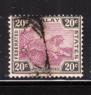 Federated Malay States 1901 Tiger 20c Used - Federated Malay States