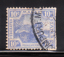 Federated Malay States 1906-22 Tiger 10c Used - Federated Malay States