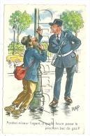 Rap (Illustrateur) : Gp D´un Policier à Képi Avec Un Ivrogne S´accrochant à Un Réverbère En 1950 (animé). - Ilustradores & Fotógrafos
