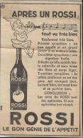 ROSSI/Le Bon Génie De L´appétit// Publicité /  Vers 1940-45           ILL21 - Spirituosen