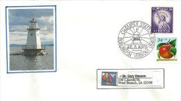 ETATS-UNIS. Phare De Burlington, Lac Champlain, Vermont,    Enveloppe Souvenir. - Fari