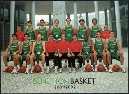 BASKETBALL - ITALIA - BENETTON BASKET TREVISO 2001/2002 - SUL RETRO AUTOGRAFI 9 GIOCATORI + COACH - Basketbal