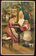 SANTA In Window~~ Green Robe ~~ Girl Singing & Pet Kitten Chat ~~ Postcards B14 - Santa Claus