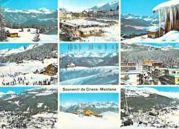 Suisse-VS Valais-SOUVENIR De CRANS MONTANA - Multi Vues -Editions: Photo Wherli 2843) *PRIX FIXE - VS Valais