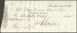 XS43 Davies Crummer Cheese & Oliver, Bankers Kington 1827 Cheque - Cheques & Traveler's Cheques