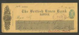 XT14 Cheque British Linen Bank Hawick 1923 - Cheques & Traveler's Cheques