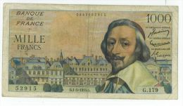 1000 Francs Richelieu, Ref Fayette 42/15, état TTB+ - 1 000 F 1953-1957 ''Richelieu''