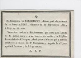 Berenholt Anne, Anvers 27-09-1822 - Obituary Notices