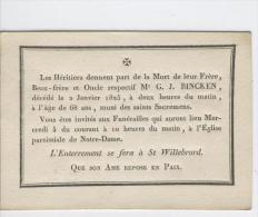 Bincken G.J., Anvers 2-1-1825 - Obituary Notices