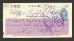 XT23 Cheque Ulster Bank Ltd Enniskillen 1926 - Cheques & Traveler's Cheques