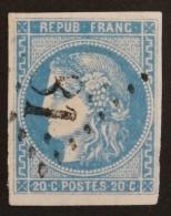 YT 46B Oblitéré GC , Départ 0.01€ SANS PRIX DE RESERVE, 4 Marges, Variété, Sans Amainci , Cote 25 € - 1870 Uitgave Van Bordeaux