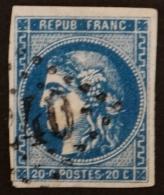 YT 46Ba Bleu Très Foncé Oblitéré GC 2240 , Départ 0.01€ SANS PRIX DE RESERVE, 4 Marges , Cote 70 € - 1870 Uitgave Van Bordeaux