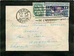 1925  Lettre De Deuil Paris Pour Angoulême  Blanc 5 C Arts Déco 25 C - Storia Postale