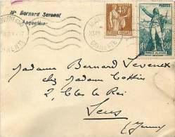 1941  Lettre D'Angoulême Pour Paris Rouget De Lille Yv 314, Paix 45 C Yv 282 - France