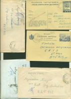 GRECE , GREECE , 3 Covers And 2 Cards Stamped With Military Cencorship And 2 Slogans ( 1948-1949 ) - Collections