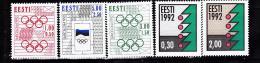 ESTONIE  1992 J.O. DE BARCELONE NOEL  194 A 196  210 211MNH - Estonie