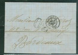 LAC De Marseille Cad En Mars 1871 Pour Bordeaux Taxe Tampon 30   - Lp27008 - 1849-1876: Classic Period